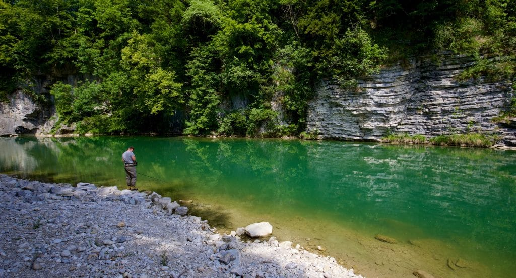 When Wildswimming in Wiestal one meets often fly fishing persons - please respect!